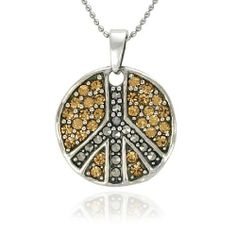"""Sterling Silver Marcasite Champagne Crystal Peace Sign Pendant Necklace , 18"""" Amazon Curated Collection. $69.00. Avoid heat and perfume.. The natural properties and composition of mined gemstones define the unique beauty of each piece. The image may show slight differences to the actual stone in color and texture.. Save 70% Off!"""