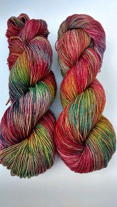Mater Garden, Hand dyed yarn, sock weight, Superwash Merino, 463 yards