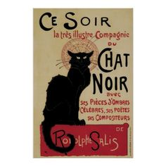Vintage Art Nouveau Black Cat Posters!  For more visit Adelheid De Leeuw's Shop@ http://www.zazzle.com/aapshop?rf=238308729910790362