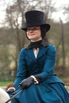 Beautiful blue riding habit -- Imogen Poots as Blanche Ingram on horseback inJane Eyre (2011)