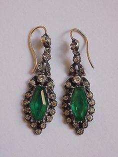 Spectacular Antique Edwardian Gold, Silver Lazarus Emerald paste drop earrings