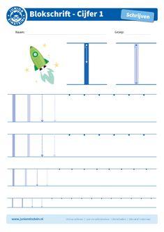 Cijfer 1 -  Dit werkblad biedt het cijfer 1 aan. Oefen eerst het cijfer een aantal keer op de eerste, grote cijfers. Oefen daarna de cijfers steeds kleiner. Tip: pak een aantal gekleurde potloden en schrijf het cijfer elke keer met een andere kleur! Je kunt gewoon over het vorige lijntje heen schrijven. Zo oefen je het cijfer meerdere keren en onthoud je het beter. Je kunt het blad ook vaker printen. Download ook de andere oefenbladen en maak een boekje van al je geschreven cijfers! Alphabet Worksheets, Preschool Worksheets, Disney Home, Einstein, Number Tracing, Airplane Crafts, Numbers Preschool, Scandal Abc, Homeschool