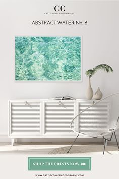 Large mint green abstract art print adds a bright pop of color in an all white modern beach house living room Coastal Wall Decor, Coastal Art, Beach House Decor, Coastal Living, Black Rooms, Water Art, House Art, Green Art, Print Store