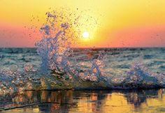 Wallpaper wave, sun, sea, splash, sunset