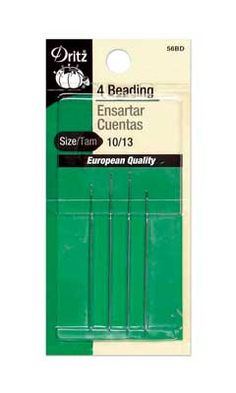 Very fine long needles with small eyes for beadwork, sewing, sequins, pearls and more. Two of each in sizes 10 and 13.