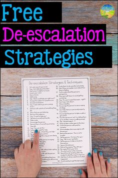 This free resource include over 50 strategies to help kids and young adults de-escalate when emotions run high! This is a free printable list for teac. - self contained - Education Emotional Support Classroom, Special Education Classroom, Social Emotional Learning, Social Skills, Social Work, Music Therapy Activities, Activities For Adults, Autism Teaching, Teaching Music