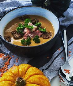 """@mikejlafromscotland on Instagram: """"Yes...I know. It can be slightly confusing but it's not butter squash soup🙊 is it delicious red lentil soup. But autumn 🍂 decoration is…"""" Butter Squash Soup, Red Lentil Soup, Lentils, Fall Decor, Autumn, Canning, Decoration, Ethnic Recipes, Instagram"""