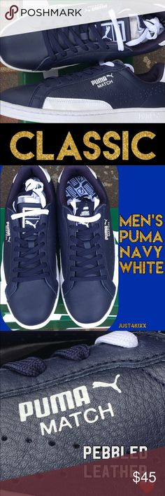 Men's New Puma Classic Rich Soft Navy with White details.  ***these run about 1/2 size small. Puma Shoes Sneakers