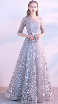 A line Tulle Prom Dresses with Sleeves Flowers Evening Dress - Our Email Address: moonlightmmll when you order please tell me your phone number foEr - Hijab Prom Dress, Prom Dresses With Sleeves, Tulle Prom Dress, Bridesmaid Dresses, Hijab Gown, Dress Brokat, Kebaya Dress, Elegant Dresses, Pretty Dresses