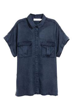 Lyocell Utility Shirt | Dark blue | SALE | H&M US