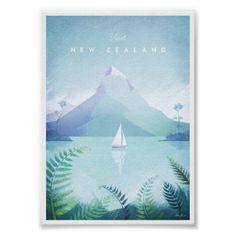 Vintage travel poster of New Zealand. Original New Zealand vintage style travel poster by Henry Rivers. Buy a premium poster online! Visit New Zealand, New Zealand Art, Minimal Travel, Illustrator, Mexico Art, Retro Poster, Design Poster, Retro Illustration, Art Mural