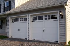 Ideas, Stunning White Double Carriage Garage Doors In Grey Garage With Black Wall Lamp Design Ideas: Interesting Carriage Garage Doors Desig...