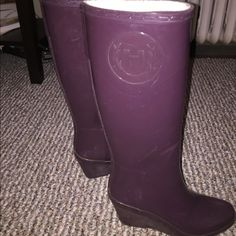 Purple Wedge Hunter Boots Purple wedge hunter boots in good condition. Fun and unique! Make an offer! Hunter Boots Shoes Winter & Rain Boots