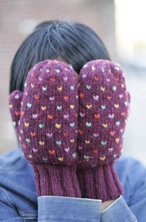 """Thrummed mittens. Pattern is $2.75. They are """"lined"""" with wool. The little flecks of color are the ends of loose bits of roving woven in..."""
