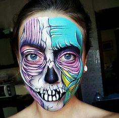 Colorful zombie Halloween makeup