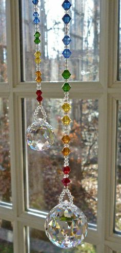 Swarovski Crystal Ball on Chakra Colored Strand, Crystal Sun Catcher, Hanging Crystal, Rainbow Maker Bead Crafts, Diy And Crafts, Arts And Crafts, Suncatchers, Deco Table Noel, Chakra Colors, Deco Nature, Hanging Crystals, Beaded Curtains
