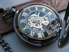 Geometric Black Pocket Watch Mechanical Roman by ArtInspiredGifts, $44.00