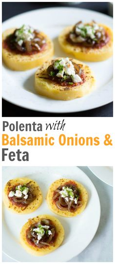 This Polenta with Tomato Sauce, Balsamic Onions and Feta recipe is a great appetizer option for you because you probably have all the ingredients on hand. Enjoy! primaverakitchen.com