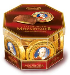 Mirabell Chocolate Mozart Medallion Transparent Box 15pcs 300g