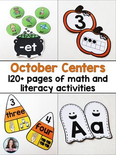 October Centers - Halloween  Save 50% when purchasing these Halloween centers in the bundle! Students will love practicing their math and literacy skills during the month of October! Games have ghost, pumpkin, and candy themes! This bundle of centers will make it easy for you to plan and prep a set of math and literacy centers to use during October. This bundle includes eight different centers - 4 math and four literacy.