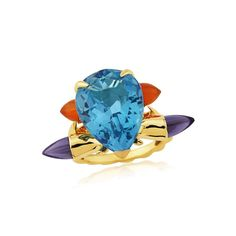 Cocktail Ring Set With Pear Shape Blue Topaz