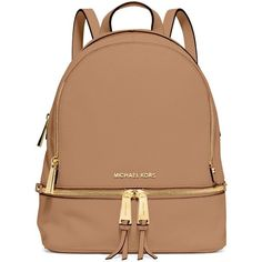 MICHAEL Michael Kors Rhea Small Zip Backpack (412 AUD) found on Polyvore featuring bags, backpacks, peanut, leather backpack, zipper backpack, leather zipper bag, leather strap bag and leather zipper backpack