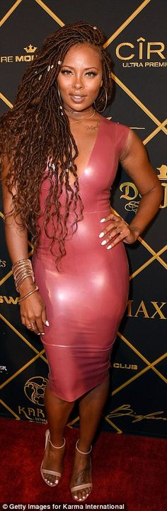 Watch out the Kardashians: Actress Eva Marcille rocked a latex House Of CB dress which Khloe Kardashian has also been known to wear