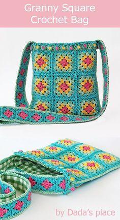 Crochet Granny Square Bag Classic granny square crochet bag by Dada's place Crochet Purse Patterns, Bag Crochet, Crochet Shell Stitch, Granny Square Crochet Pattern, Bag Patterns To Sew, Tote Pattern, Crochet Handbags, Crochet Purses, Crochet Granny