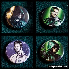 "Green Arrow Oliver Queen 4 Pack 1.25"" Pin back buttons"