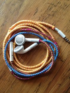 Even easier wrap tutorial for iPhone headphones. - Anyone wanna make me these?!! If I buy the materials, could you do it?!! I don't have patience!!!!!!!!!!!