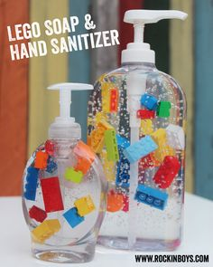 How fun is this? DIY Lego Soap Dispensers for the kids bathroom!  @Lisa Phillips-Barton Phillips-Barton Apollonio - for Elizabeth - cute craft show or teacher gift :)