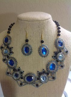 Blue and Black - Jewelry creation by Lizy N. Black Jewelry, Wire Jewelry, Jewelry Sets, Handmade Jewelry, Jewelry Making, Princess Tiara, Moody Blues, Wire Weaving, Crown Jewels