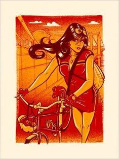Bike girl art by adam truman