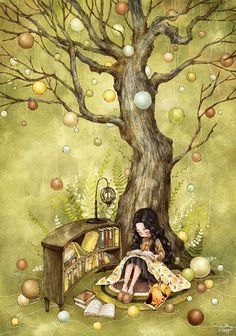By South Korean artist Aeppol Art And Illustration, Fantasy Kunst, Fantasy Art, Poster Print, Creation Photo, Reading Art, Happy Reading, Forest Girl, Korean Artist
