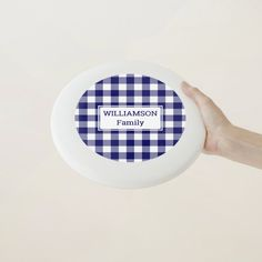 Blue and White Buffalo Check Pattern Custom Name Wham-O Frisbee - tap/click to get yours right now! #WhamOFrisbee #blue #white, #buffalo #check, #summer