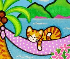 Tropical Orange Tabby CAT on HAMMOCK Folk Art PRINT by thatsmycat, $8.00
