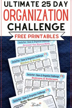 Ready to take the challenge of decluttering and organizing your messy house? Get all the best tips on how to take control of a cluttered house with practical ways to purge, clever storage solutions and daily housekeeping tips that aren't overwhelming. Within 25 days using these free printables, you'll have the organized and tidy home you've been wanting. #Organize #NewYear #SpringCleaning #Declutter #HomeTips Organizing Paperwork, Organization Hacks, Messy House, Housekeeping Tips, Planner Tips, Decluttering, Printable Coloring Pages, Ocd, Clean House