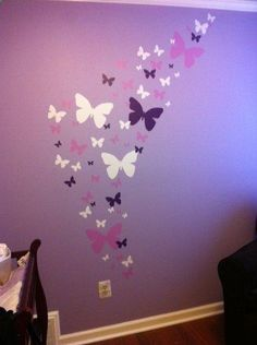 little girls bedroom ideas: little girls bedroom ideas Butterfly Wall Decals- Lavendar, Lilac & White Matte Finish Appliques' For Girls Room Decor Butterfly Bedroom, Butterfly Wall Decals, Cheap Bedroom Ideas, Purple Rooms, Daughters Room, Little Girl Rooms, My New Room, Kids Room, Decoration