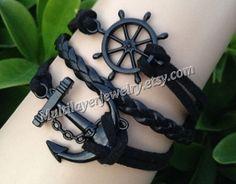 Electrophoresis black bracelet, anchor bracelet, rudder bracelets, leather bracelet, hipsters charm jewelry, creative bracelets, combination by takenfcu