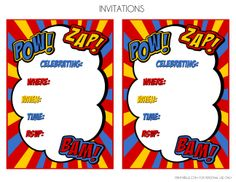 Free Superhero Printables Extras Freeprintables Invitations Superman Birthday