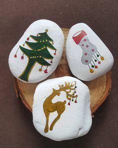 Christmas decorations painted on stones