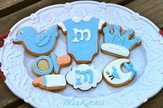 Baby shower cookies~                By Blaukitchen, blue duck, baby bottle, bib, crown, Onesie, pacifier