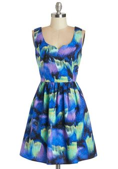 Northern Bright Dress - Mid-length, Blue, Purple, Print, Party, A-line, Tank top (2 thick straps), Better, Scoop, Cosmic, Multi, Pockets, Ex...