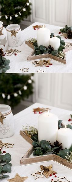 127 gorgeous diy thanksgiving & christmas table decorations & centerpieces page 39 Farmhouse Christmas Decor, Rustic Christmas, Christmas Home, Christmas Crafts, Christmas Ornaments, Silver Christmas Decorations, Diy Thanksgiving, Christmas Aesthetic, Christmas Inspiration