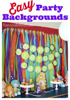 Kid's birthday parties can get expensive quick. I like to DIY as many party decorations as possible. My party backgrounds are easy to make and cheap. Party Kulissen, Party Time, Party Favors, Ideas Party, Party Background, Background Ideas, Birthday Fun, Birthday Parties, Birthday Ideas