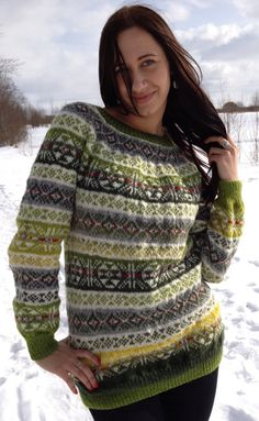 Fair Isle sweater Green sweater Women's sweater Handmade por adaLV