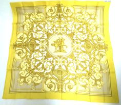 Authentic Hermes Scarf 100 Silk Yellow Horse Motif