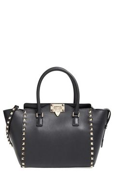 Valentino 'Rockstud' Double Handle Leather Shopper