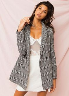 Buy Germaine Blazer - Grey Plaid at Peppermayo online now. Jumpers For Women, Blazers For Women, Jackets For Women, Clothes For Women, Plaid Pants, Plaid Blazer, Blazer Jacket, Lifestyle Trends, Winter Coats Women