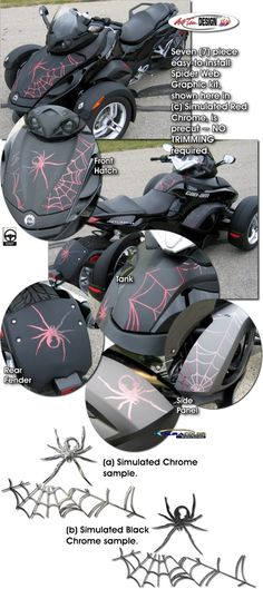 Motorcycle specific graphic kits for Bombardier Can-Am Spyder Roadster from Auto Trim DESIGN dress up your bike and will set you apart from the pack.
